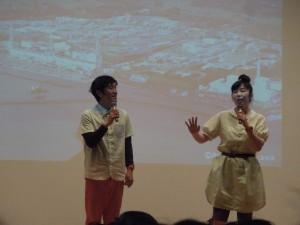 マコ&ケン(背景は原発の写真) 6/14 中区鯱城ホール